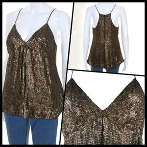 Vince Brown Metallic Sequin Spaghetti Strap Top 4